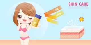 Protezione solare sveglia di usura di donna del fumetto illustrazione di stock