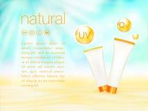 Protezione UV Progettazione cosmetica degli annunci modello, della protezione solare e del sunbath di Sunblock illustrazione di v Fotografie Stock