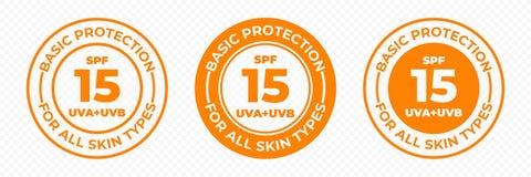 Protezione UVA del sole di SPF 15 ed icone di vettore di UVB Lozione della pelle di protezione di SPF 15 ed etichetta UV di base  illustrazione di stock