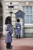 Protezioni del granatiere che portano i greatcoats di inverno Fotografie Stock