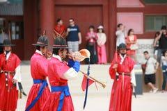 Protezioni del palazzo dell'imperatore a Seoul. Immagine Stock