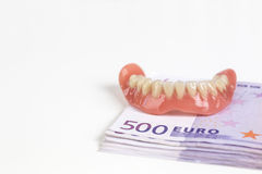 Prothèse sur 500 euro notes Photos libres de droits