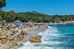 Proti Ammoudia plaża, jeden piękne plaże w morzu egejskim fotografia royalty free