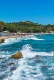 Proti Ammoudia plaża, jeden piękne plaże w morzu egejskim zdjęcie royalty free