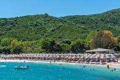 Proti Ammoudia plaża, jeden piękne plaże w morzu egejskim obraz stock