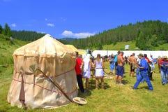 Proto-bulgar läger på den Rozhen mässan Royaltyfria Foton