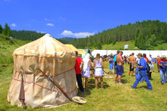 Proto-Bulgarian encampment at Rozhen Fair Royalty Free Stock Photos