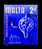 Proto Christian Era, History of Malta 1965-1977 serie, circa 1967. MOSCOW, RUSSIA - OCTOBER 3, 2017: A stamp printed in Malta shows Proto Christian Era, History stock photo
