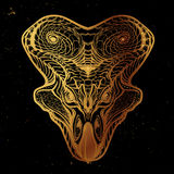 Protoceratops głowa Nakreślenie na nightsky tle Zdjęcie Stock