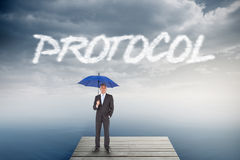 Protocol against cloudy sky over ocean Stock Image