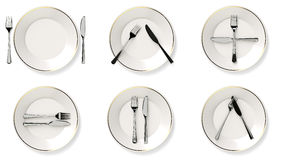 Protocol cutlery. Six images that represent the language of cutlery Stock Images