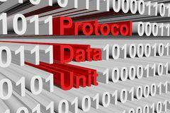 Protocol data unit. In a binary code 3D illustration Stock Photo