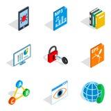 Protocol icons set, isometric style. Protocol icons set. Isometric set of 9 protocol vector icons for web isolated on white background Stock Photo