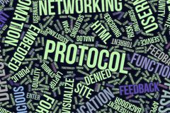 Protocol, conceptual word cloud for business, information technology or IT. Protocol, IT, information technology conceptual word cloud for for design wallpaper Royalty Free Stock Image