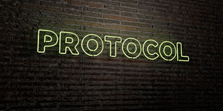 PROTOCOL -Realistic Neon Sign on Brick Wall background - 3D rendered royalty free stock image. Can be used for online banner ads and direct mailers Royalty Free Stock Photography
