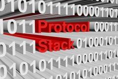 Protocol stack. In binary code, 3D illustration Stock Photo