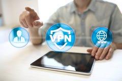 Protocole réseau privé virtuel de VPN Technologie de sécurité de Cyber et de connexion d'intimité Internet anonyme photo libre de droits