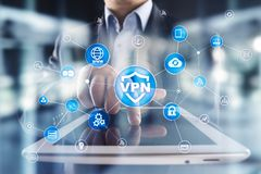 Protocole r?seau priv? virtuel de VPN Technologie de s?curit? de Cyber et de connexion d'intimit? Internet anonyme photos stock