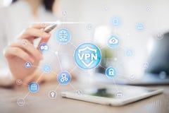 Protocole r?seau priv? virtuel de VPN Technologie de s?curit? de Cyber et de connexion d'intimit? Internet anonyme images libres de droits