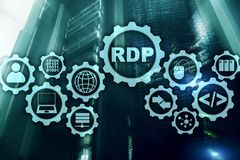 Protocolo Desktop remoto da RDP Servi?os terminais fundo do servidor fotografia de stock