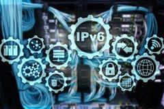 Protocolo IP IPv6 no fundo da sala do servidor Conceito do Internet e da rede da tecnologia do neg?cio ilustração stock