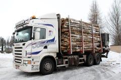 Protokollierender LKW-Schlussteil voll der Logs Stockfoto
