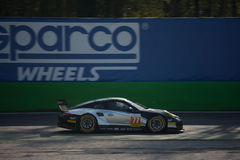 Proton Competition Porsche 911 RSR at Monza. 2017 European Le Mans Series teams took part in a two days test session at the Autodromo Nazionale Monza Royalty Free Stock Photo