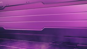 Proton purple interior with empty stage. Modern Future background. Technology Sci-fi hi tech concept. 3d rendering royalty free illustration