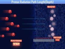 Proton Radiation Path Length (3d illustration) Stock Photos