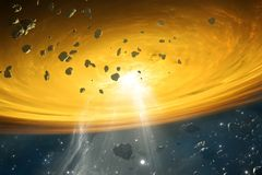 Protoplanetary disk of gas and dust, orbiting a newly formed star. From which planets may form. 3d rendering vector illustration