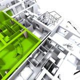 Prototipo verde del apartamento en azul stock de ilustración