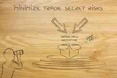Prototipo y hombre confidenciales que espían en él, concepto de secr comercial Imagen de archivo libre de regalías