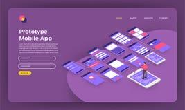 Prototyp liso da página da aterrissagem do conceito de projeto do Web site do projeto do modelo ilustração stock