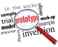 Prototyp-Modell-Produkt-Beispiellupen-Wörter Stockbild