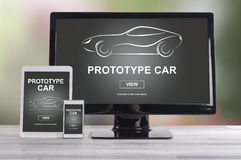 Prototype car concept on different devices Royalty Free Stock Photography