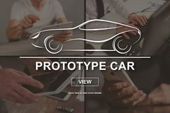Concept of prototype car. Prototype car concept illustrated by pictures on background Stock Photo