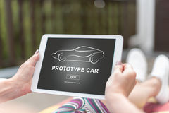Prototype car concept on a tablet Stock Image