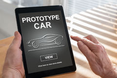 Prototype car concept on a tablet. Tablet screen displaying a prototype car concept Stock Photography
