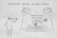 Prototype & man spying on it, concept of trade secrets. Confidential prototype on stage & person spying with binoculars, concept of trade secrets and industrial Royalty Free Stock Photography