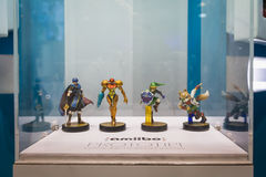 Prototypes of Nintendo Amiibos on display at Games Week 2014 in Milan, Italy Royalty Free Stock Images
