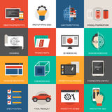 Prototyping And Modeling Icons Set Stock Photos