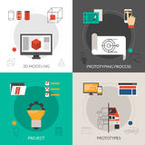 Prototyping And Modeling Set. Prototyping and modeling design concept set with 3d project icons  vector illustration Stock Photos