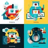Prototyping och modellera begrepp för design 2x2 Royaltyfri Fotografi