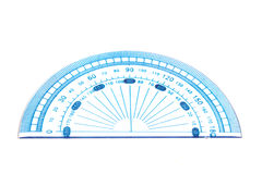 Protractor. Blue protractor isolated on white royalty free stock image