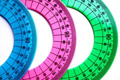 Protractor. Protractor is used for precise definition and construction of angles Royalty Free Stock Photo