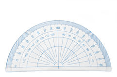 Protractor. Close up of a plastic geometry protractor arranged over white stock photo