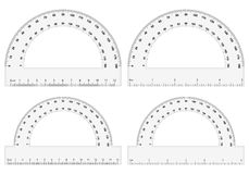 Protractor. Set on white background Royalty Free Stock Image
