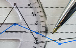 Protractor and chart Royalty Free Stock Photos