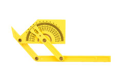Protractor isolated. Plastic protractor isolated on white stock photos