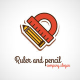 Protractor and penci llogo Royalty Free Stock Images